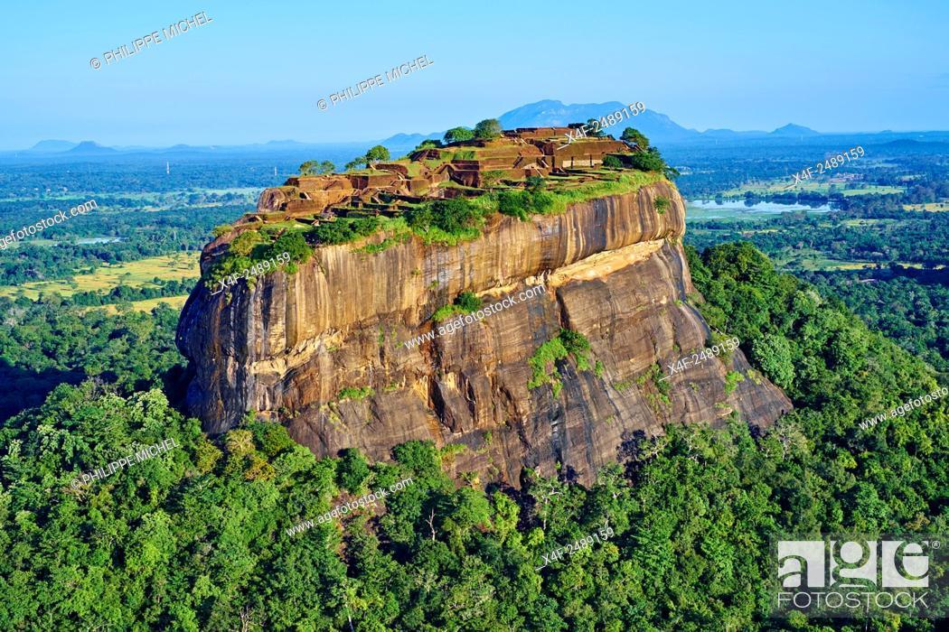 Stock Photo: Sri Lanka, Ceylon, North Central Province, Sigiriya Lion Rock fortress, UNESCO world heritage site, aerial view.