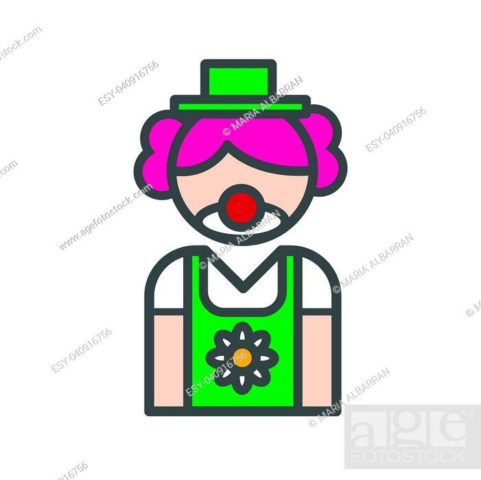 Vector: Clown avatar icon on white background.