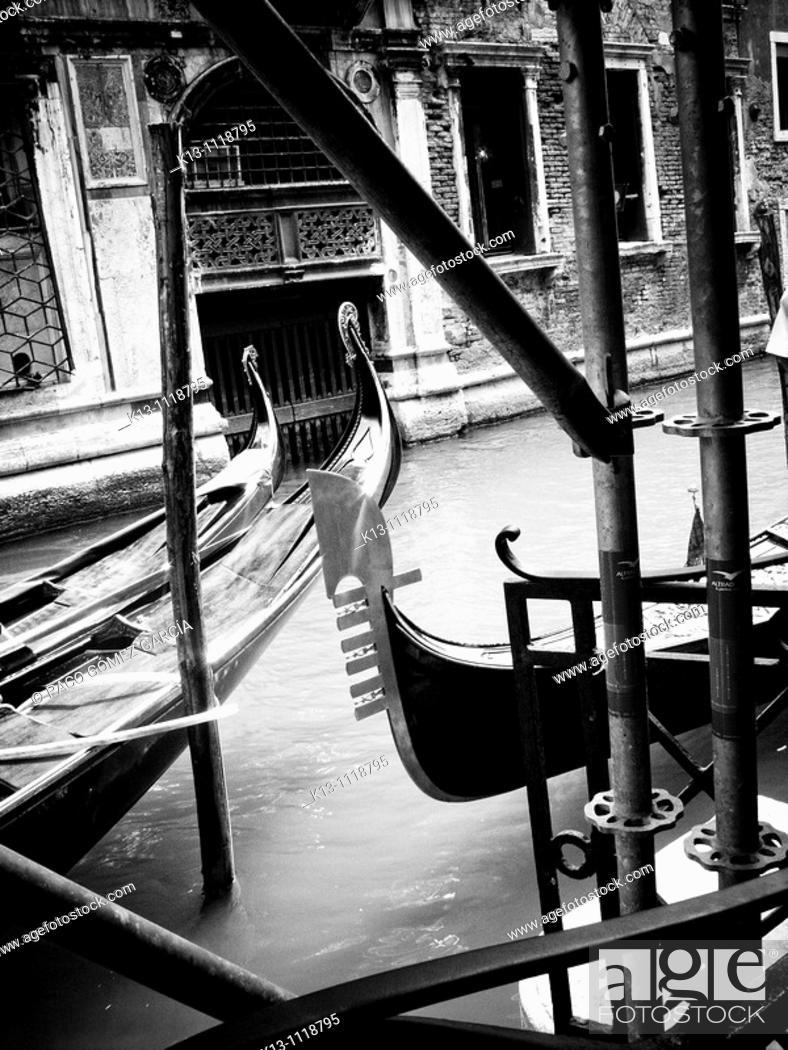Stock Photo: Gondolas in a canal, Venice, Italy.