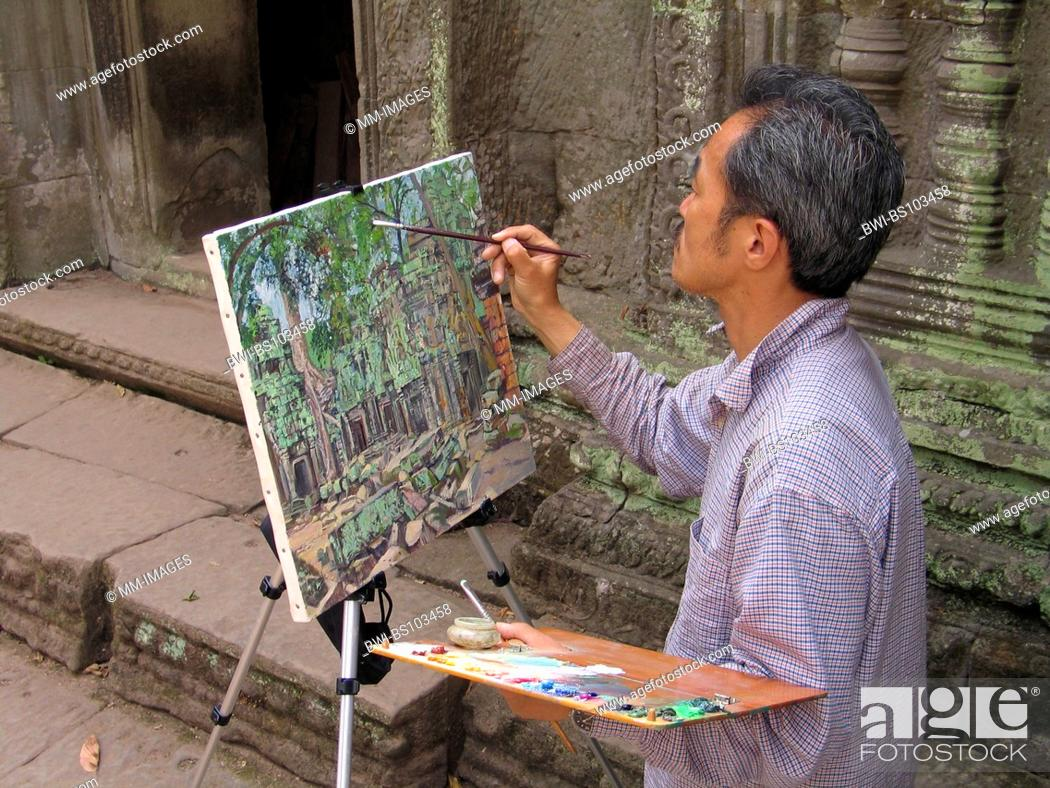 Stock Photo: painter, Cambodia, Ta Prohm.
