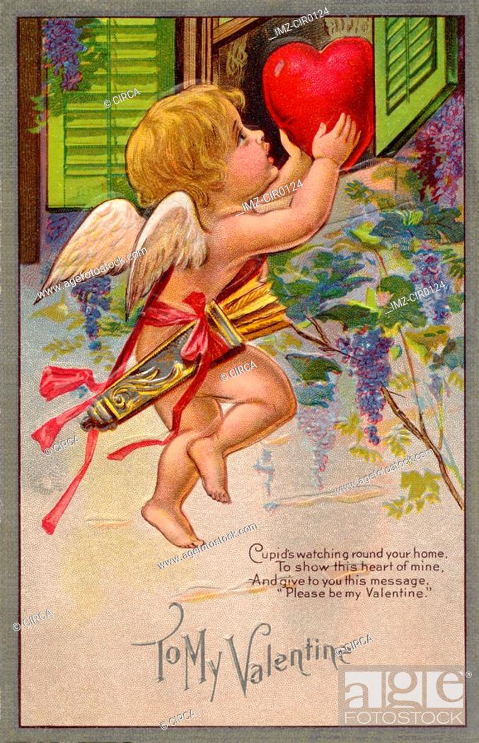 Stock Photo: A vintage To My Valentine card with a cupid making a special delivery.