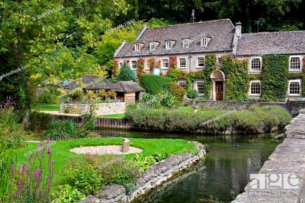 Stock Photo Swan Hotel River Coln In Bibury Village Gloucestershire Cotswold District England United Kingdom Europe