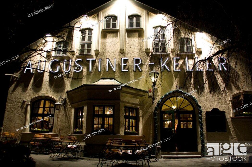 Stock Photo: Germany Bavaria Munich, popular Augustiner -Keller restaurant.