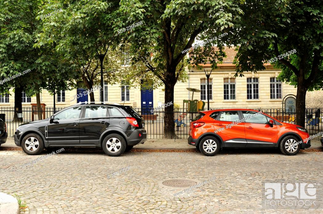 Stock Photo: parked cars, Bordeaux, Gironde Department, Aquitaine, France--.