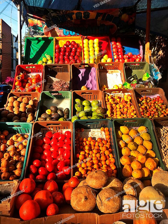 Stock Photo: Fruits for sale in a street shop in Mexico City, Mexico.