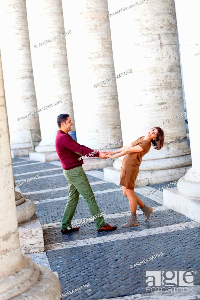 Stock Photo: Couple in love at Saint Peter's Basilica Vatican Rome Italy.