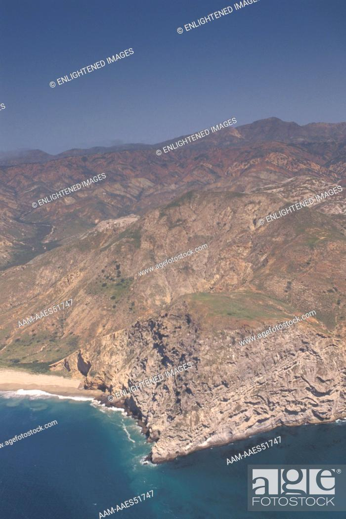 Stock Photo: Aerial over the south central coast of Santa Cruz Island, Channel Islands, California.