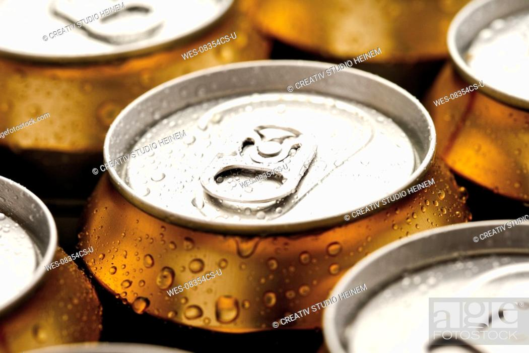 Stock Photo: Beer cans, close-up.