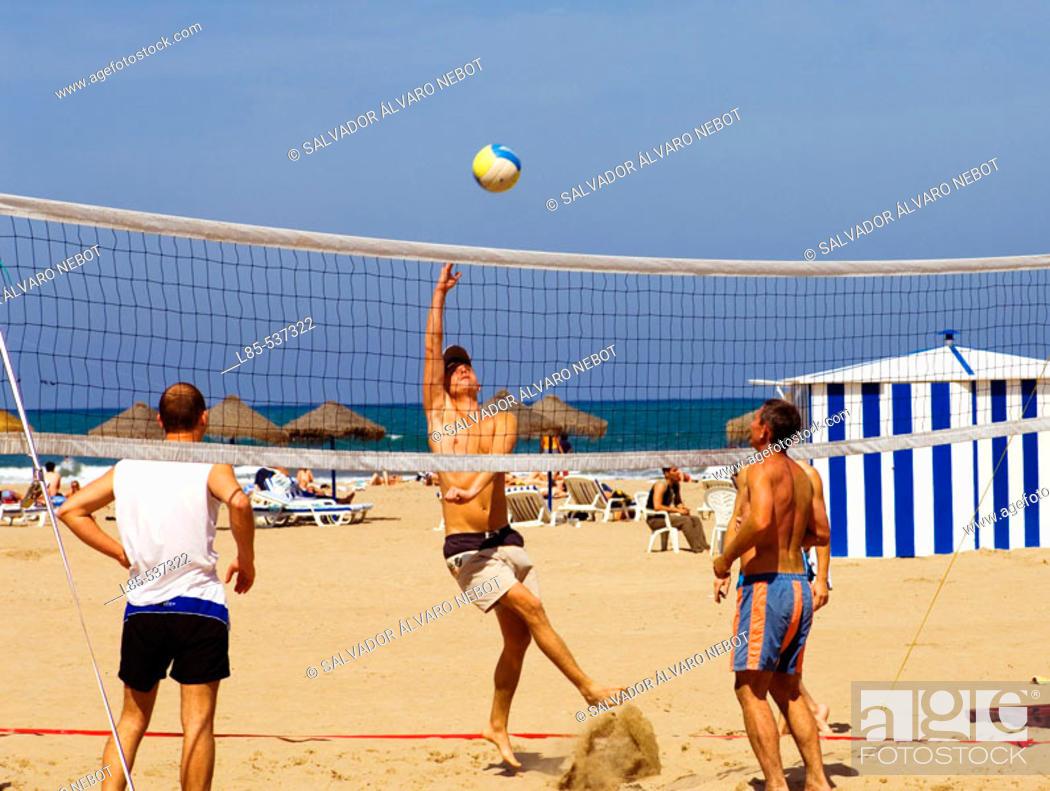 Stock Photo: Beach volleyball. Playa de las Arenas, Valencia, Spain.