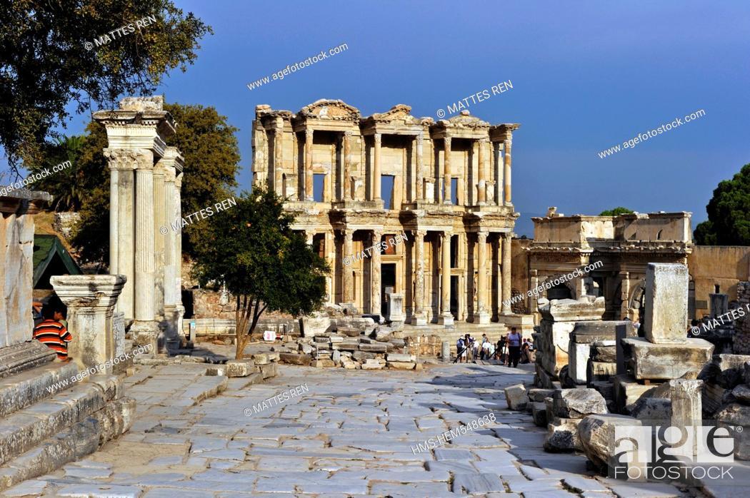 Stock Photo: Turkey, Aegean Region, Ephesus ancient city, Celsus Celsius Library.