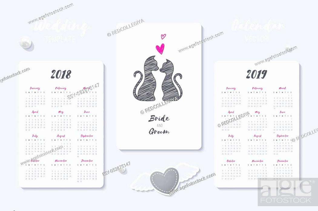 Stock Vector: wedding vector calendar template with happy bride and groom hand drawn couple, 2018 and 2019 years.