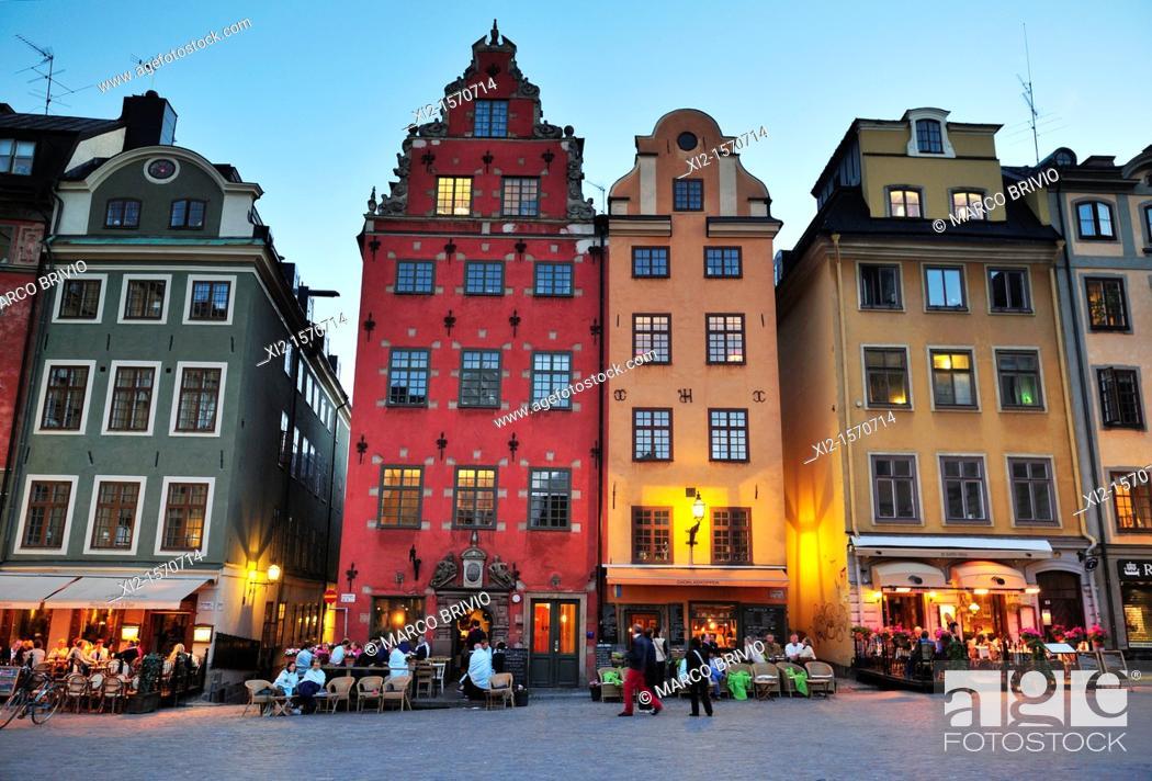 Stock Photo: Stortorget square at dusk, Stockholm, Sweden.