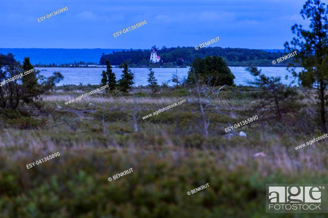 Stock Photo: Strawberry Island Lighthouse at dusk. Ontario, Canada.