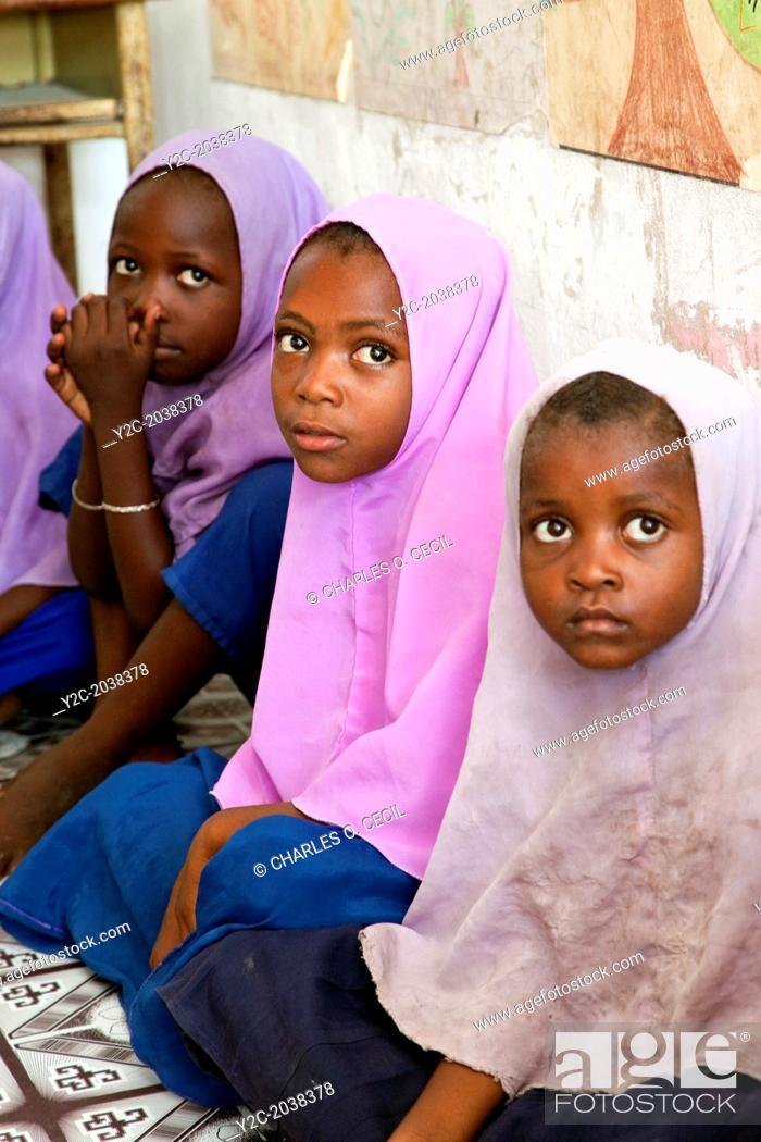 Stock Photo: Jambiani, Zanzibar, Tanzania. African Muslim Schoolgirls.