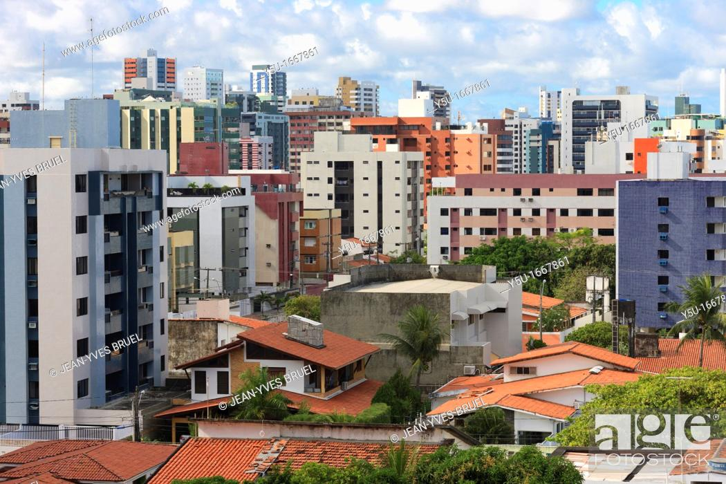 Stock Photo: Condominium Buildings, Cabo Branco, Joao Pessoa, Paraiba, Brazil, Brasil.