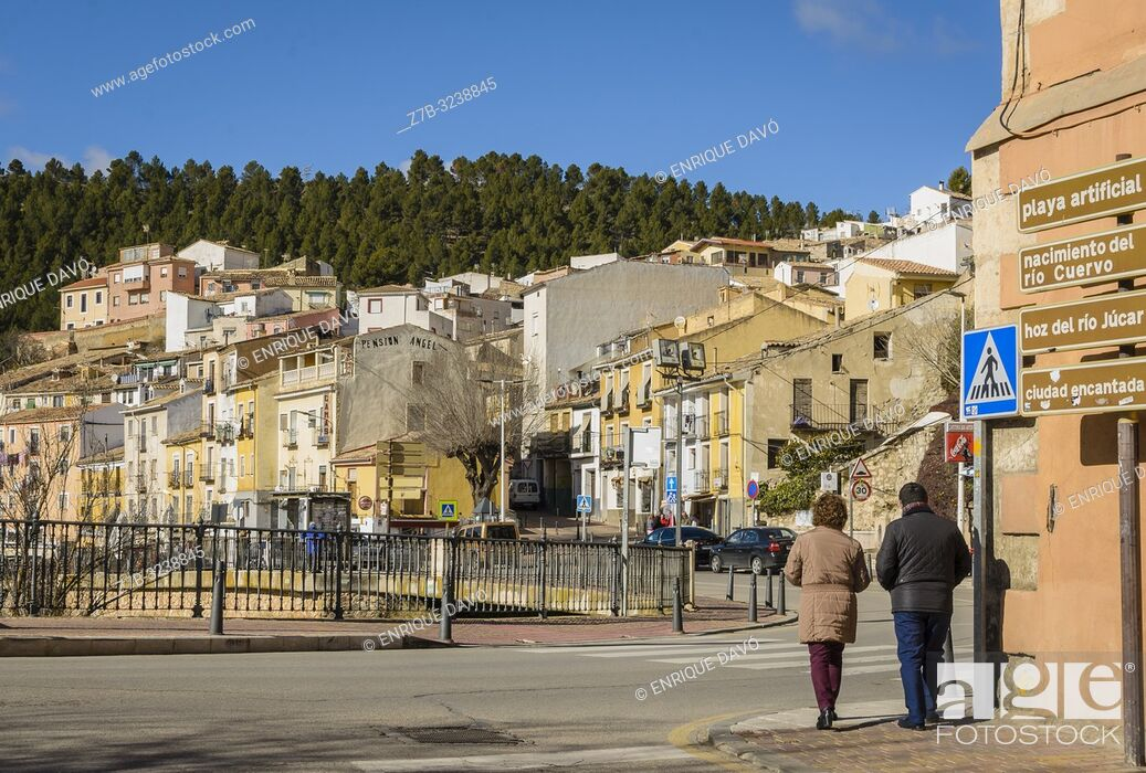 Stock Photo: View of a houses close to the Huécar river in Cuenca old town.