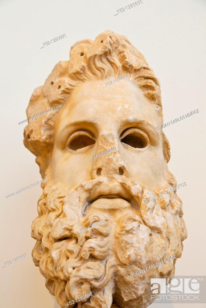 Stock Photo: Colossal head of Zeus, National Archaeological Museum, Athens, Greece.