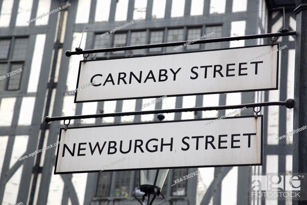 Imagen: Carnaby and Newburgh Street Sign; London; England; UK.