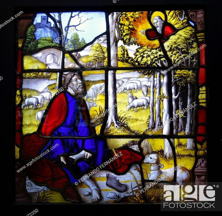 Stock Photo: Stained glass from Mariawald. Glass, with paint and silver stain. Germany. Lower Rhine. About 1520-1530. The Victoria and Albert Museum. London.