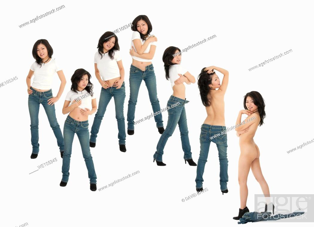 Stock Photo: Beautiful and sexy Asian woman posing in different stages of undress and with some attitude on a white background.