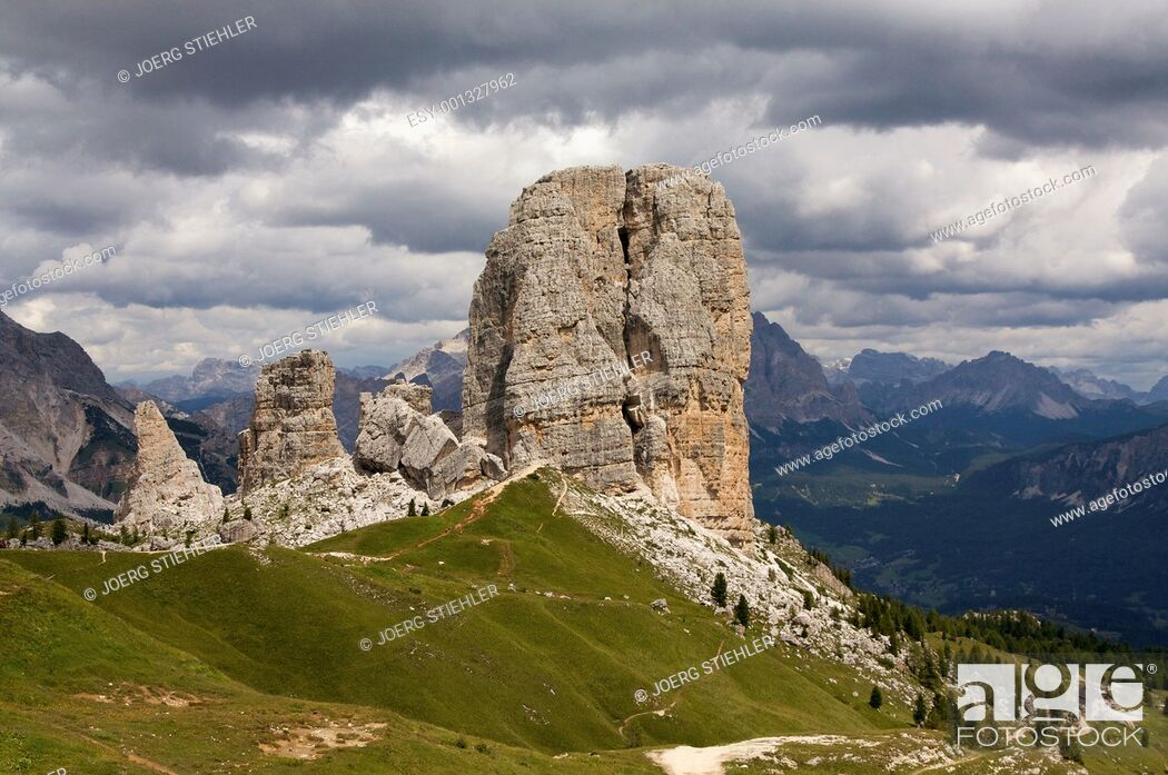 Stock Photo: Cinque Torri, Dolomite Alps, Italy, Alta Via Dolomiti.
