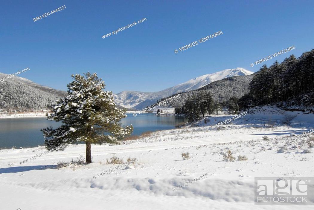 Stock Photo: View of Doxa Lake. Doxa Laka, Feneo, Corinthia, Peloponnese, Greece.