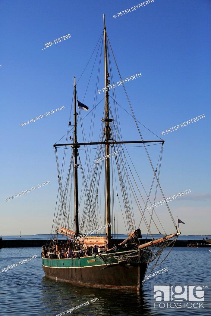 Stock Photo: Sailboat Kajsamoor 1939 coming into the port, Tallinn, Estonia.