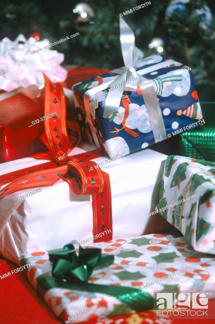 Stock Photo: Christmas gifts, wrapped.