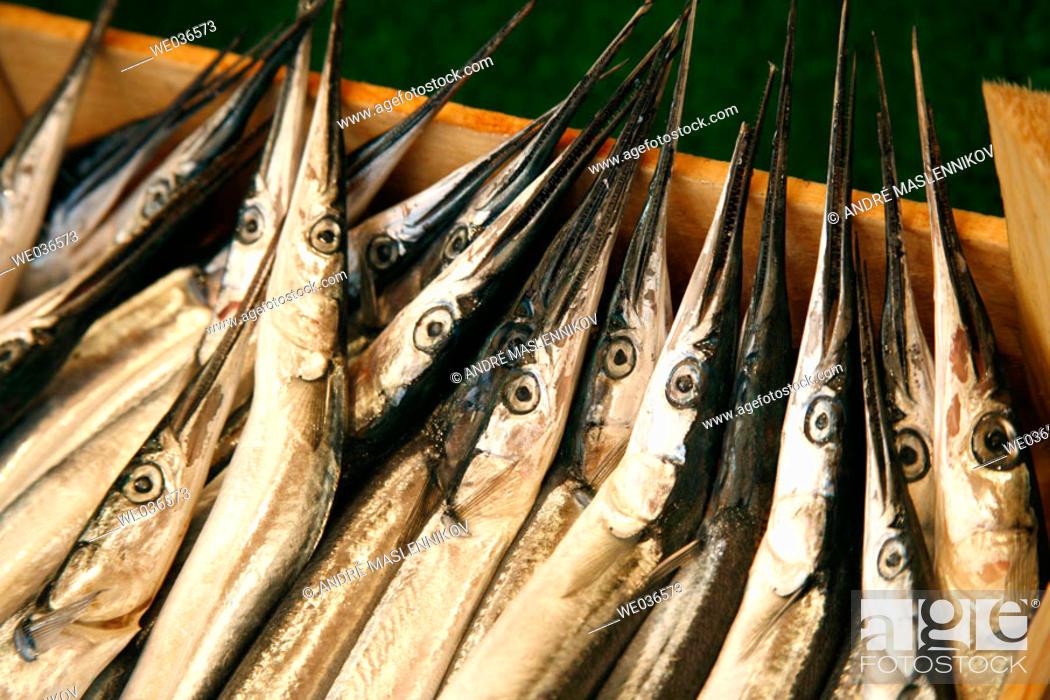Stock Photo: A box full of Garfish (Belone belone) in a fish-market in Istanbul. Turkey.