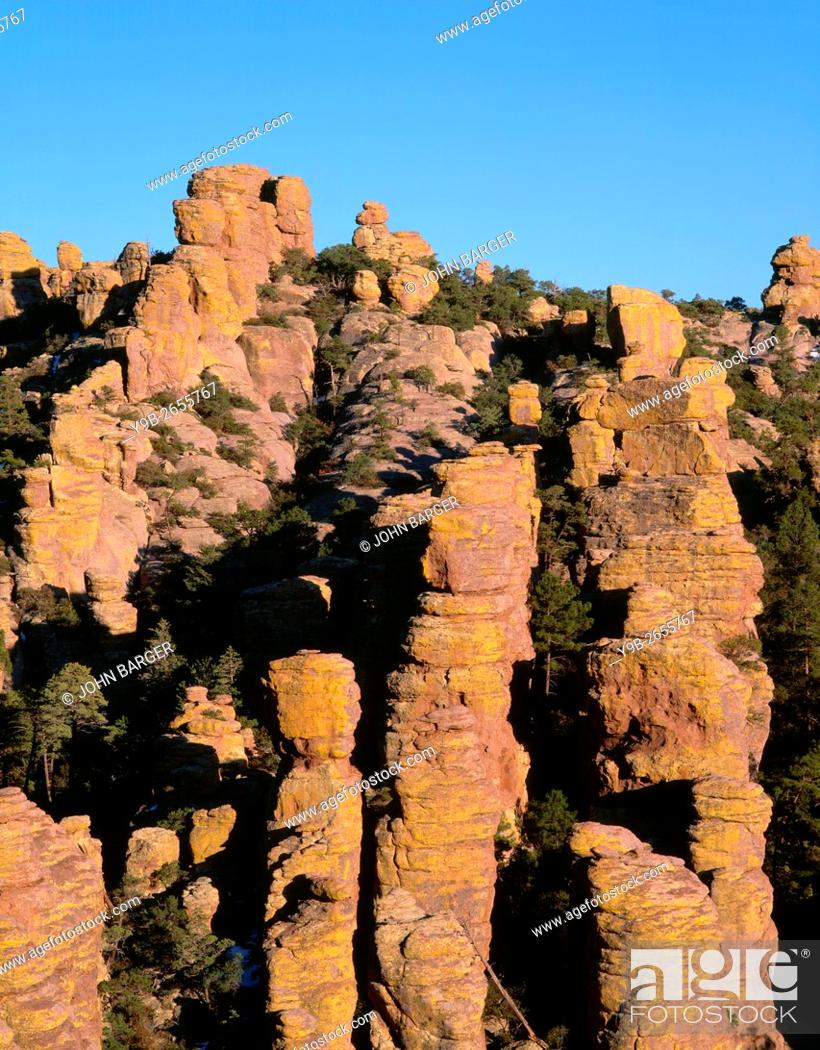 Stock Photo: USA, Arizona, Chiricahua National Monument, Evening light on spires and pinnacles in Echo Canyon which were formed by erosion of rhyolite tuff.