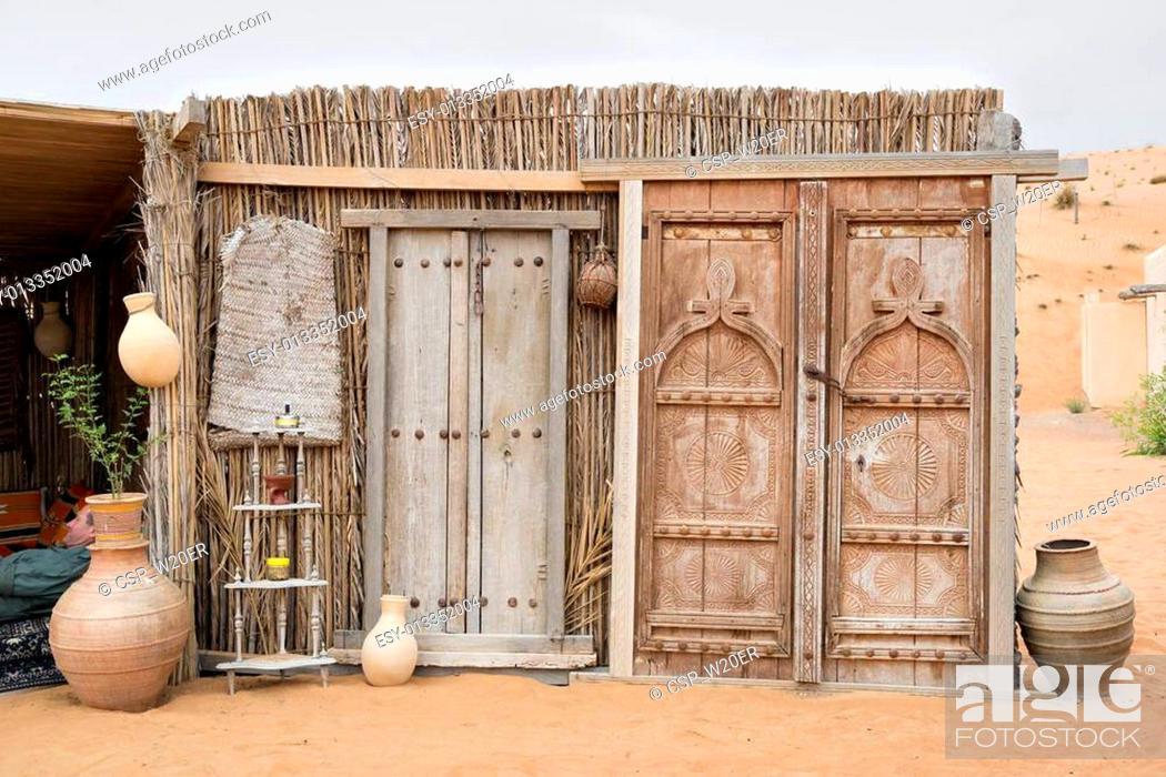 Stock Photo: Doors Desert Camp Oman.