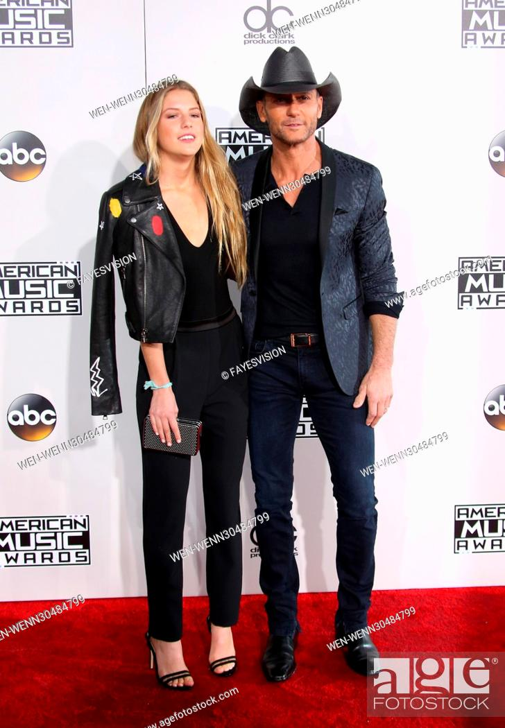 Stock Photo: 44th Annual American Music Awards held at the Microsoft Theatre - Arrivals Featuring: Maggie McGraw, Tim McGraw Where: Los Angeles, California.