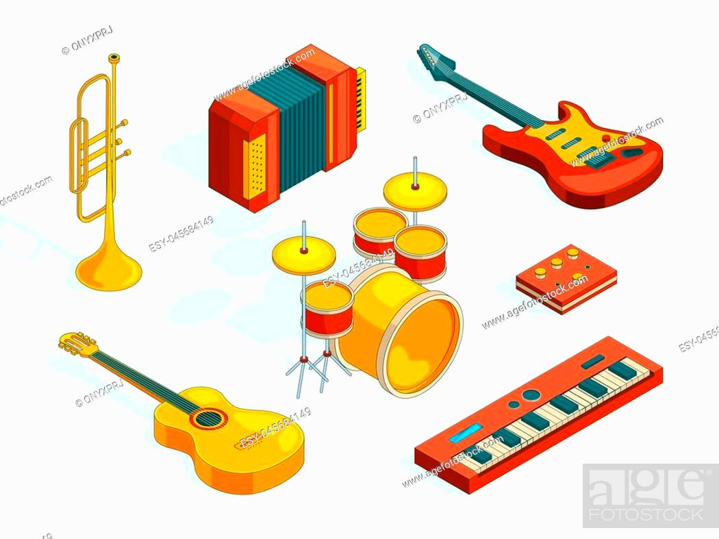 Stock Vector: Musical instruments. Isometric pictures set of various colored musician tools. Instrument musical, guitar and piano, classical accordion.