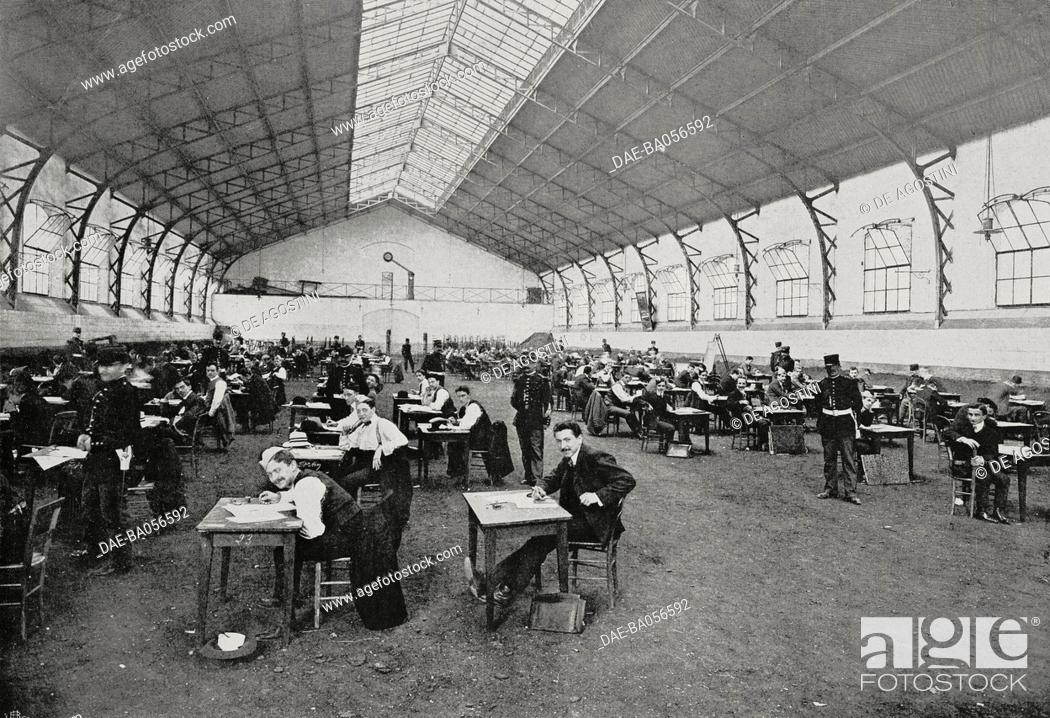 Stock Photo: The history test in the military school stables, candidates for the admission contest to the Military Academy of Saint-Cyr, France.