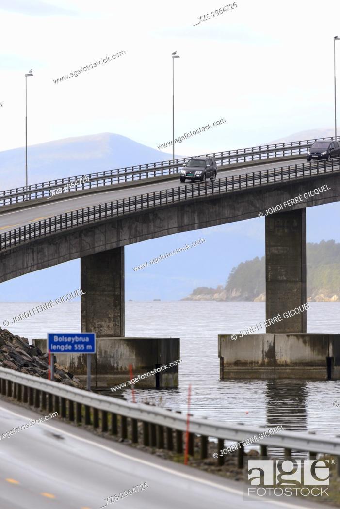 Stock Photo: Karlsøyfjorden and Bolsøybrua bridge in Møre og Romsdal county, Norway, Europe.