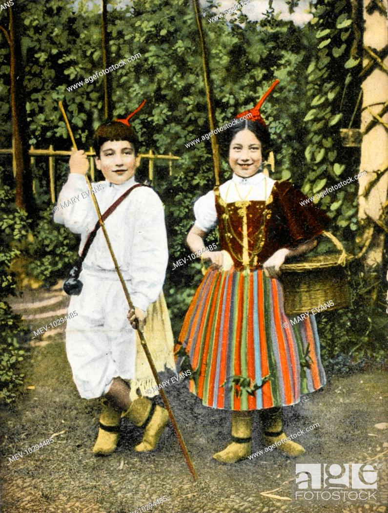 Stock Photo: Children from Madeira in traditional (and brightly coloured) costume.
