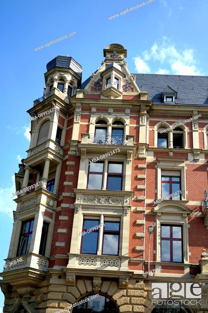 Stock Photo: France, Alsace, Strasbourg, Residential house, Facade, Dormer, Bay, Old building.