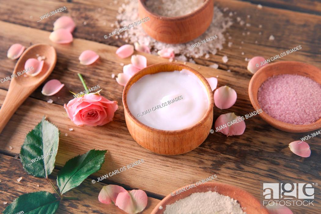 Stock Photo: Natural ingredients for homemade cosmetics on wooden background.