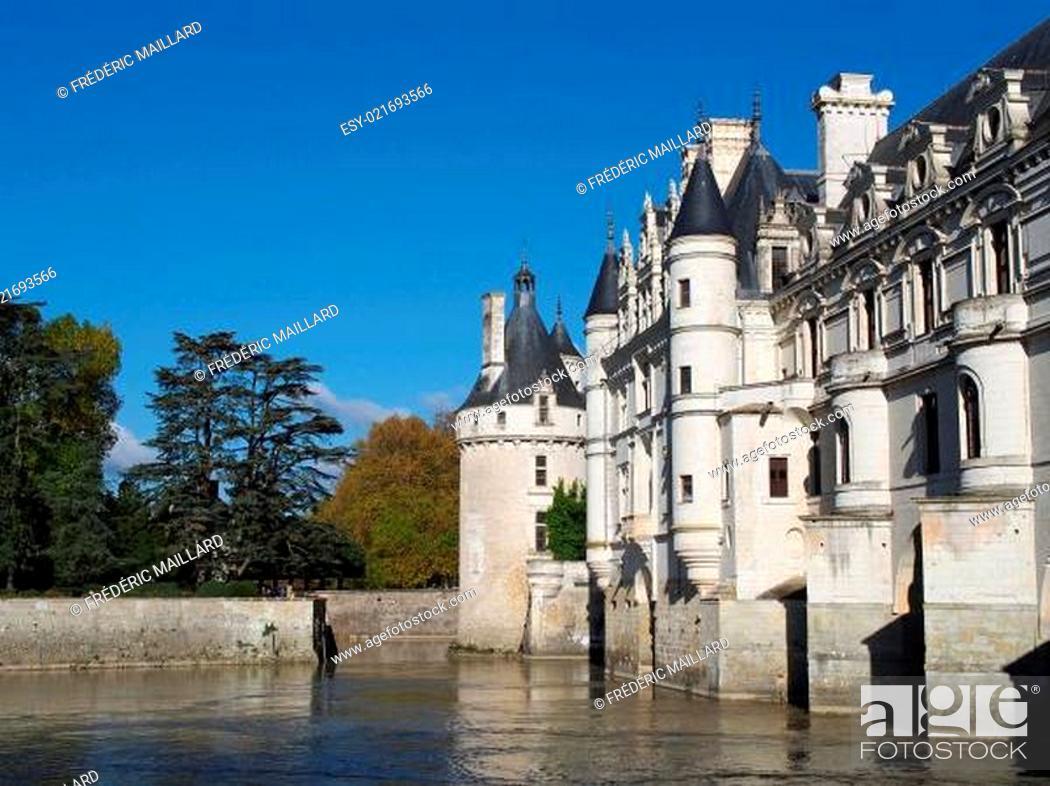 Stock Photo: Chenonceau castle , Loire valley , France.