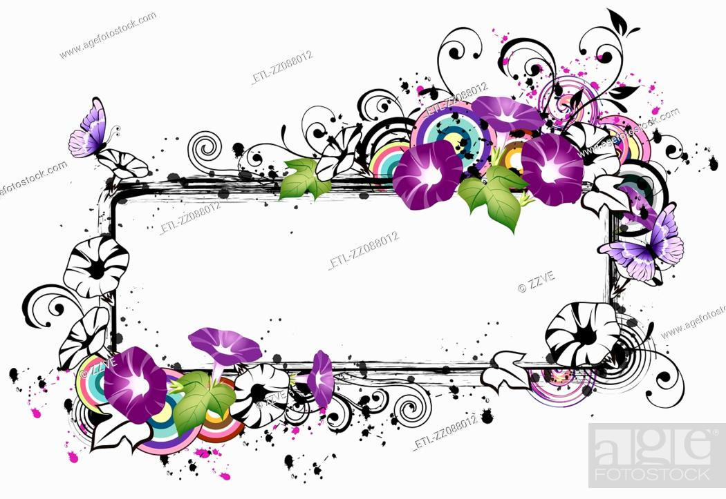 Stock Photo: Rectangular frame with morning glory flower.