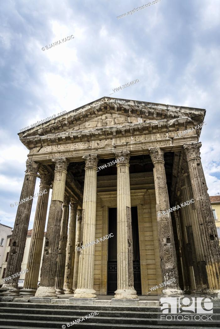 Stock Photo: Temple of Augustus and Livia, an original Roman temple, Vienne, France.