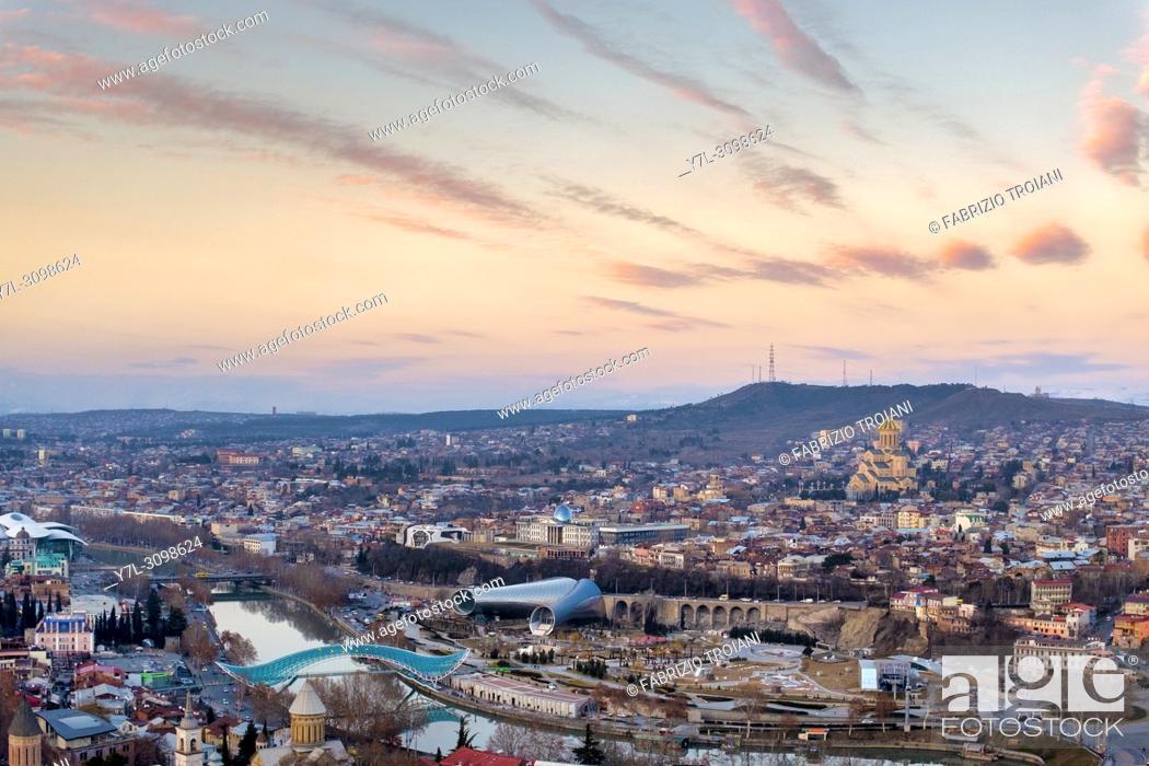 Stock Photo: View of Tbilisi taken from Narikala fortress at sunset, Tbilisi, Georgia.