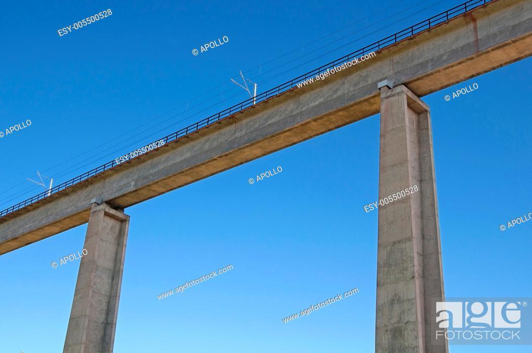 Stock Photo: Sishen-Saldanha railway bridge crossing the Olifants River near Vredendal, Western Cape, South Africa.