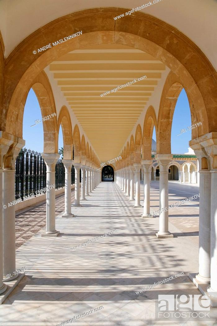 Stock Photo: Arcade at Habib Bourguiba mausoleum in Monastir. Tunisia.