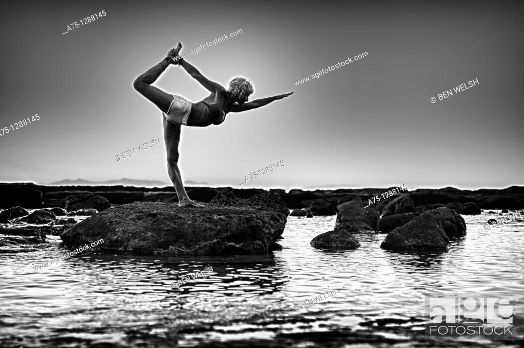 Stock Photo: Woman doing yoga.