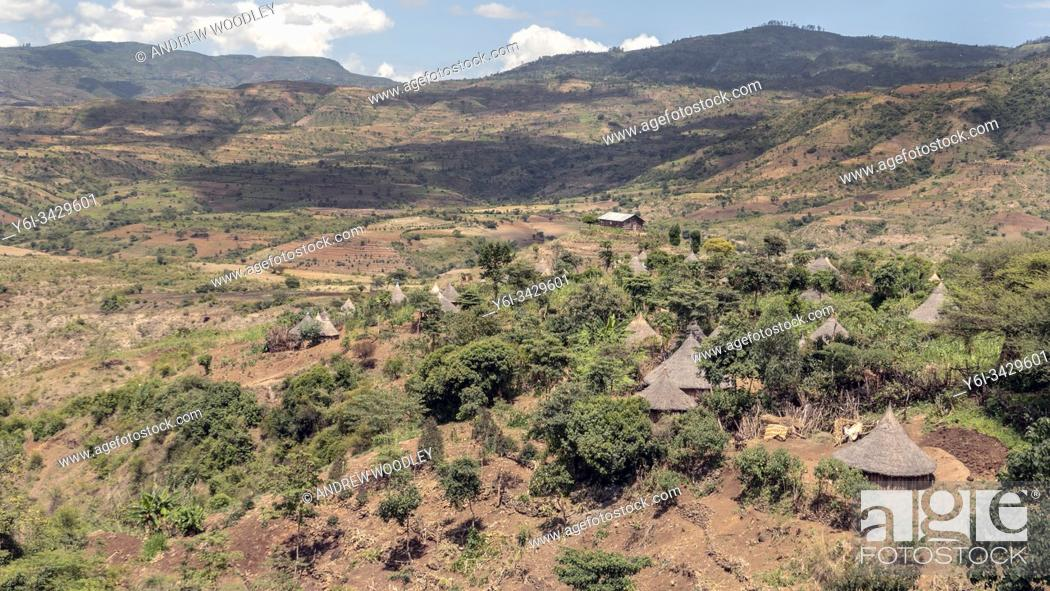 Stock Photo: Derashe tribe huts Ethiopia.