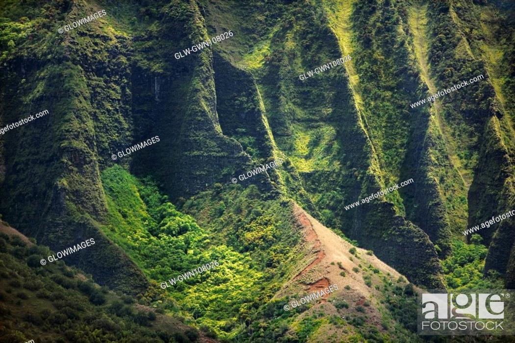 Stock Photo: High angle view of the coast, Na Pali Coast, Kauai, Hawaii Islands, USA.