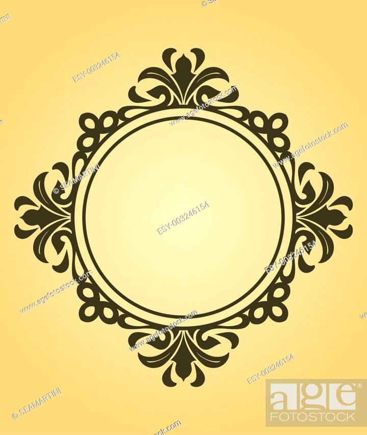 Stock Photo: Vintage frame in victorian style for design as a background.