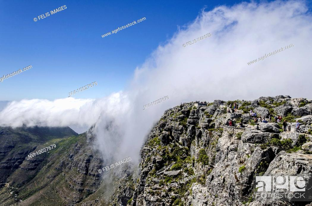 Stock Photo: Clouds over Table Mountain, Cape Town, Western Cape, South Africa, Africa.
