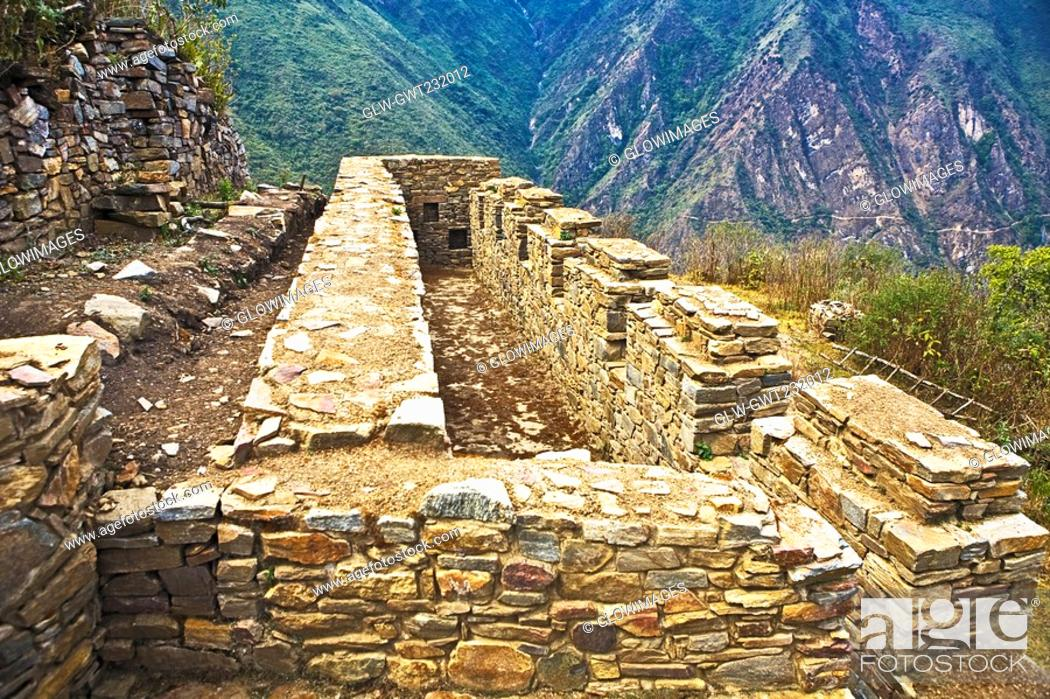 Stock Photo: Old ruins on a mountain, Choquequirao, Inca, Cusco Region, Peru.